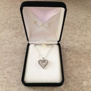Kay Jewelers Diamond White Gold Heart Pendant